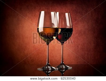 Wine on textured background