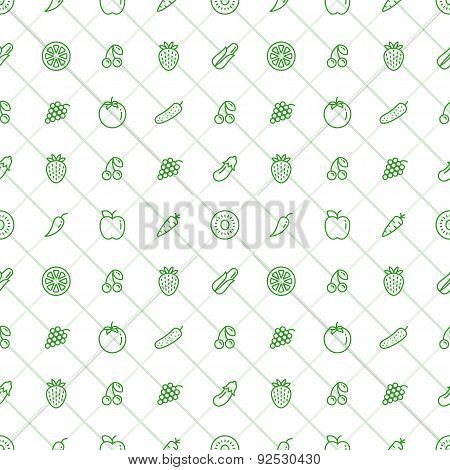 Fruits and Vegetables Seamless Pattern - Stock Vector.