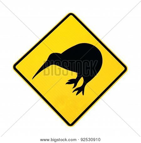 Sign - Kiwi bird, isolated on white
