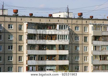 Houses in the slums of Moscow
