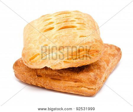 Two Fresh Puff Pastry Isolated On A White
