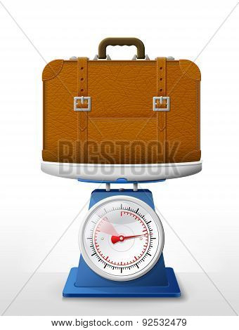 Leather Suitcase On Scale Pan