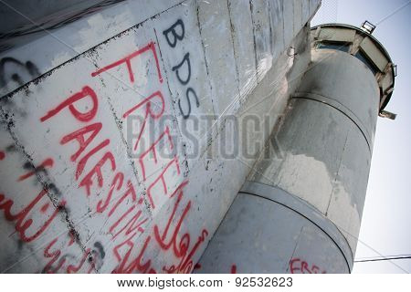 'BDS' graffiti on Israeli separation wall
