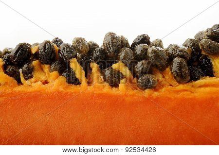 Close Up Of Papaya Seeds