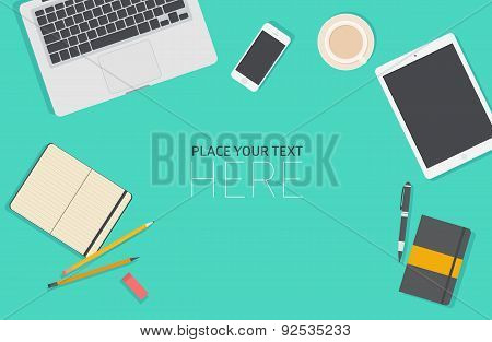 Set of Flat Business Office Vector Illustration