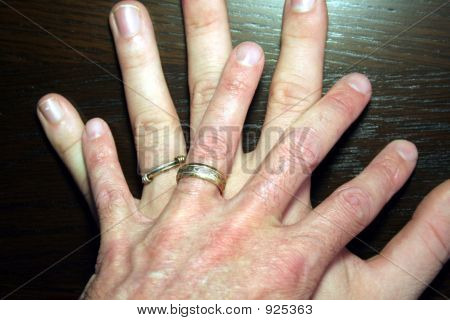 Male Hands With Commitment Rings