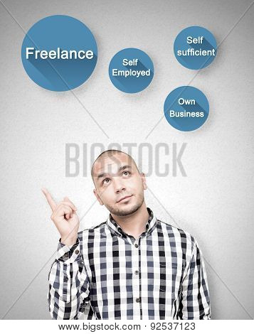 Young handsome man shows freelance work benefits