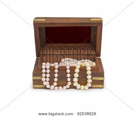 Small Wooden Chest With Pearl Necklace