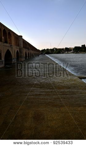 Side view of from Siosepol, Sio-se Bridge in Esfahan, Iran