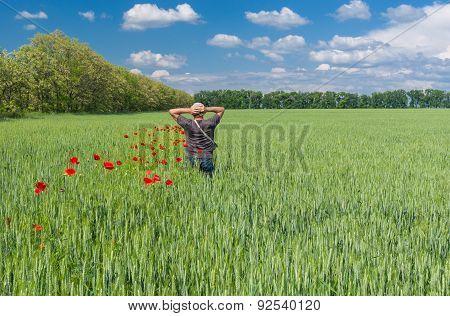 Man admires beauty of Ukrainian country landscape