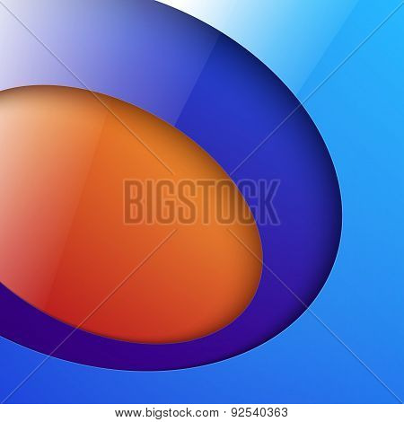Cut out shiny blue and orange circle shapes abstract background