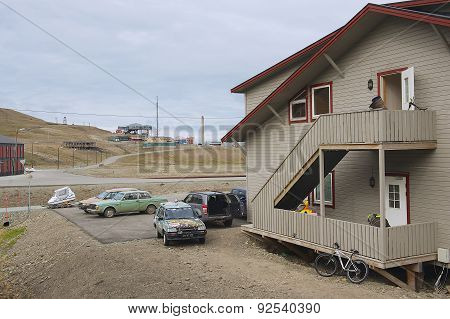 Exterior of the typical residential building in Longyearbyen, Norway.