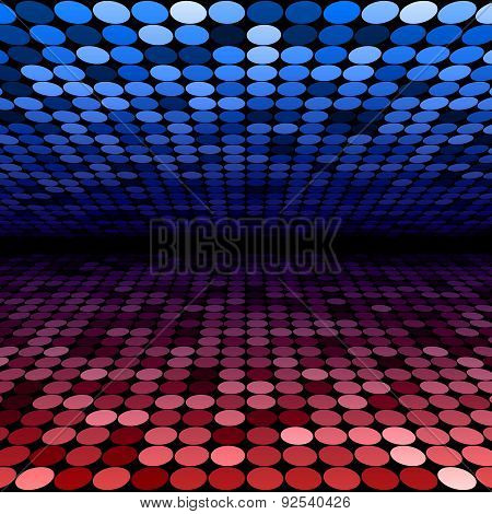 Abstract blue and red disco circles background