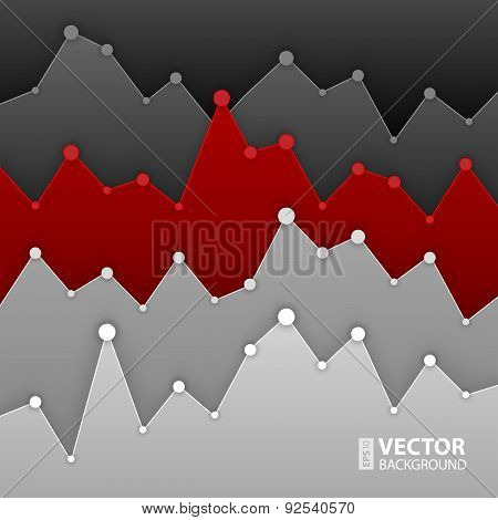 Dark grey and red graph design for workflow layout, diagram, num