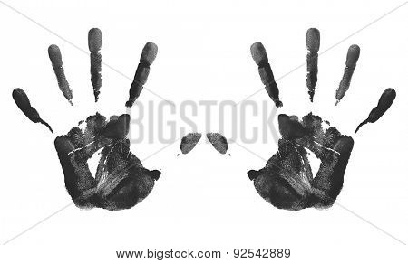 Black prints of human palms isolated on white