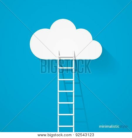 Ladder leading to cloud minimalistic style vector illustration