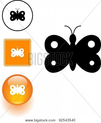 butterfly symbol sign and button