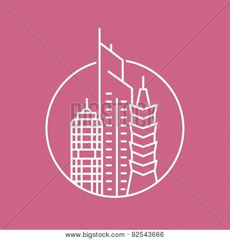 Urban vector city skyline and buildings. Cityscape logo template