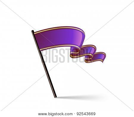 Waving purple flag icon. Vector illustration