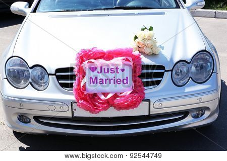 Gray wedding cabriolet, outdoors