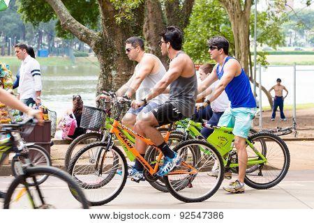 SAO PAULO, BRAZIL - CIRCA MARCH 2015: People riding bike in Ibirapuera Park in Sao Paulo, Brazil.
