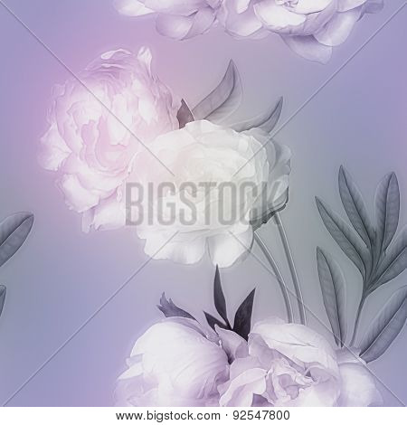 art vintage monochrome watercolor blurred floral seamless pattern with pink and white peonies isolated on lilac background