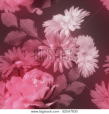 art monochrome vintage watercolor blurred floral seamless pattern with red and white roses and gerberas isolated on dark purple background