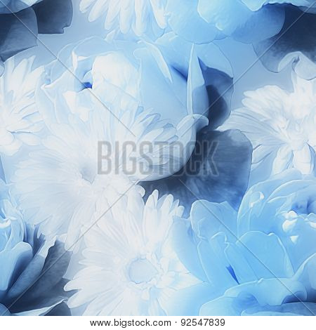 art monochrome watercolor  blurred vintage floral seamless pattern with blue and white roses isolated on blue background