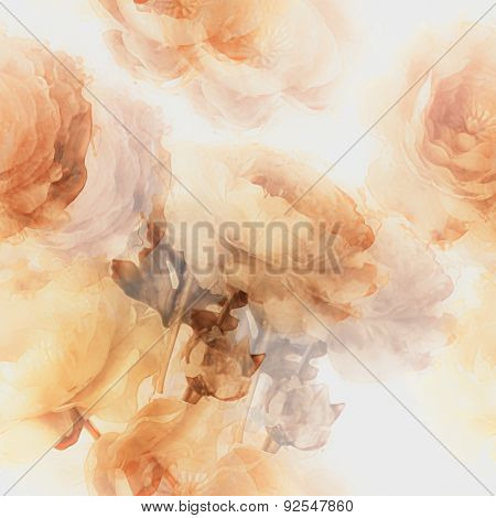 art vintage watercolor blurred floral seamless pattern  with golden peonies isolated on white background. Double Exposure effect