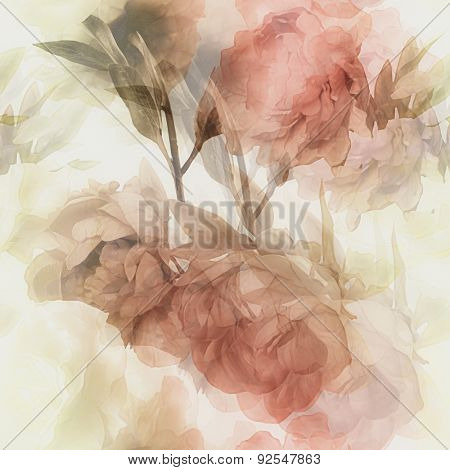art vintage watercolor blurred floral seamless pattern with white roses and red peonies isolated on white background. Double Exposure effect