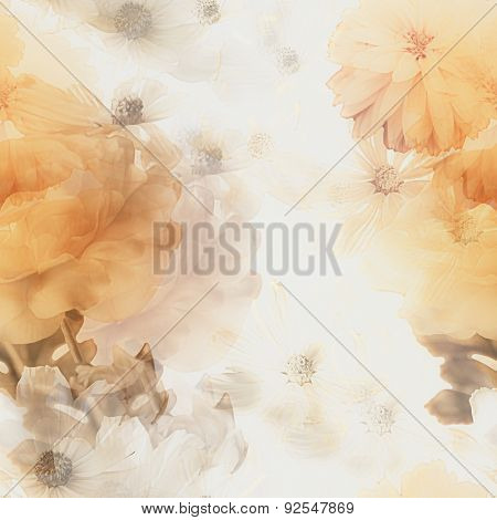 art vintage monochrome watercolor blurred floral seamless pattern with gold and white roses and gerberas isolated on white background. Double Exposure effect