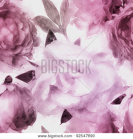 art vintage monochrome watercolor blurred floral seamless pattern  with pink and lilac peonies isolated on white background