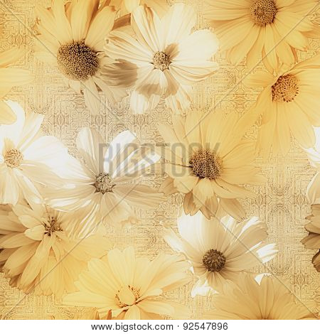 art vintage graphic and watercolor blurred floral seamless pattern with golden and white asters on grey damask  background