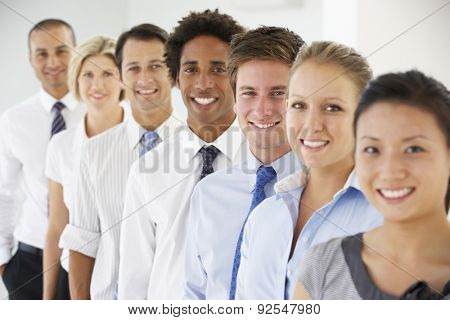 Line Of Happy And Positive Business People