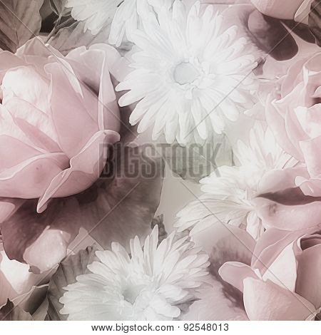 art monochrome watercolor  blurred vintage floral seamless pattern with red and white roses isolated on grey background
