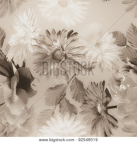 art monochrome vintage watercolor blurred floral seamless pattern with grey and white roses and gerberas isolated on light grey background