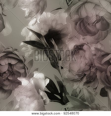 art vintage monochrome watercolor blurred and graphic floral seamless pattern with pink and white peonies on grey background