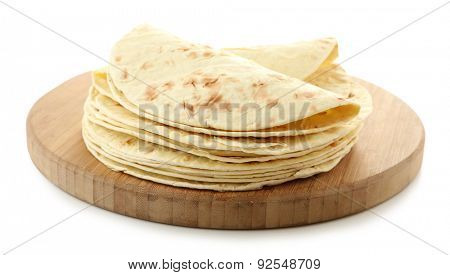 Flour tortillas isolated on white