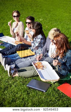 education, food, people and friendship concept - group of happy teenage students eating pizza and sitting on grass