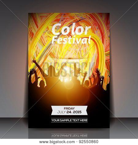 Color Festival Party Flyer - Vector Design