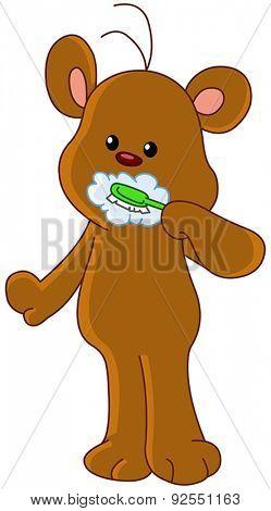 Teddy bear brushing his teeth