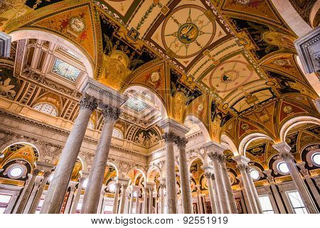 WASHINGTON - APRIL 12, 2015: Entrance hall ceiling in the Library of Congress. The library officially serves the U.S. Congress.