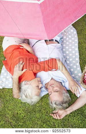 Overhead View Of Senior Couple Enjoying Picnic Together