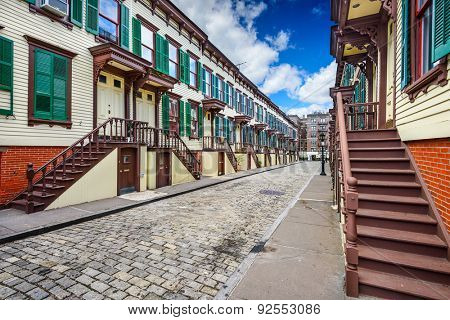 New York City, USA at rowhouses in the Jumel Terrace Historic District.