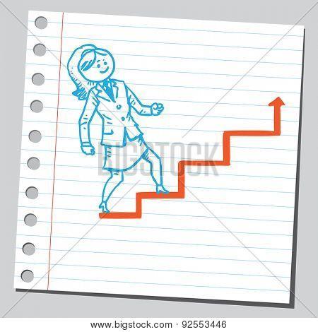 Businesswoman walking on arrow stairs