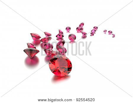 Collection of Ruby gemstone. Jewelry background