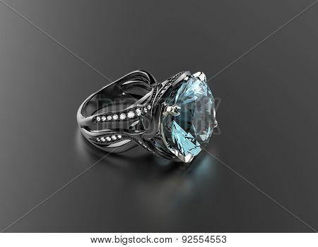 Ring with Aquamarine. Jewelry background