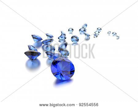 Sapphire gemstone on white. Jewelry background