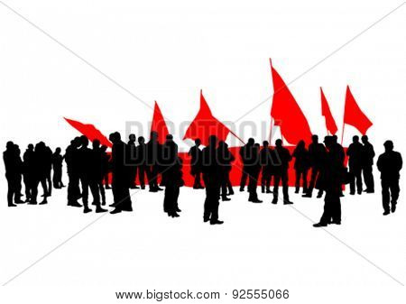 People of anarchia with large flags on white background