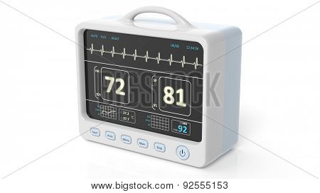Patient monitor device closeup, isolated on white background